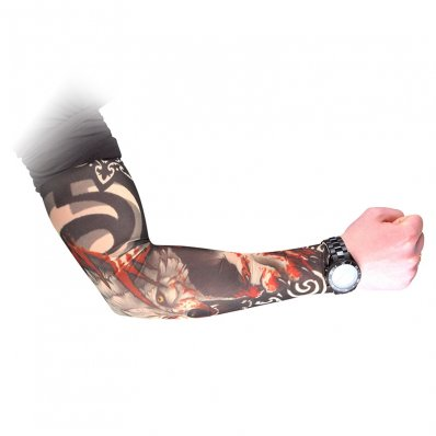 Tatuażowy rękaw - wzór wilka i smoka