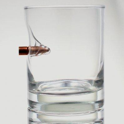 """Szklanka do whisky """"Bulletproof"""" z prawdziwym pociskiem kalibru .308"""