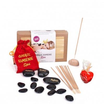 Zestaw gorących kamieni do masażu - z kadzidełkami i świecą w kształcie serca