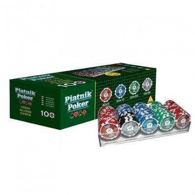 Pokerowe Żetony Piatnik z nominałami - komplet 100 sztuk