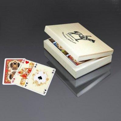 Karty Piatnik - luksusowe w pudełku drewnianym