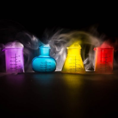 Chemiczne Kielony - walij lufę z erlenmajerki, probówki i zlewki