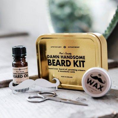 Zestaw do modelowania brody Damn Handsome Men's Society - komplet akcesoriów dla Twojej brody i wąsów