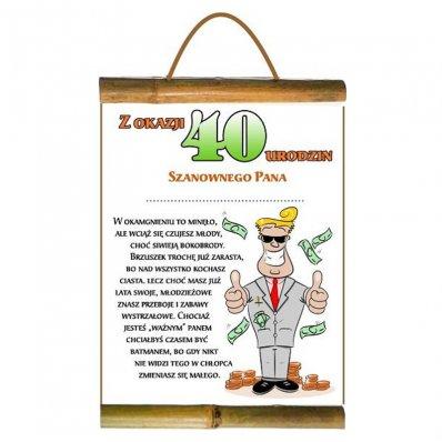 Dyplom Dla Szanownego Pana Z Okazji 40 Urodzin