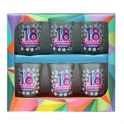 Zestaw 6 kieliszków na 18 urodziny