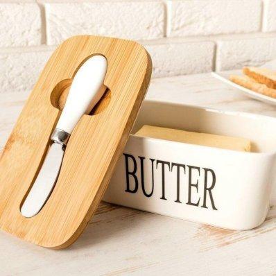 Ceramiczna maselniczka z nożem