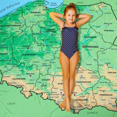 Ręcznik z mapą Polski XXL