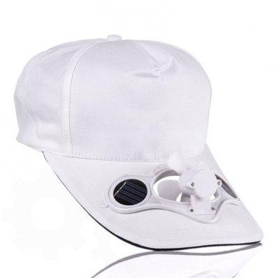 Solarna czapka z wiatraczkiem Biała