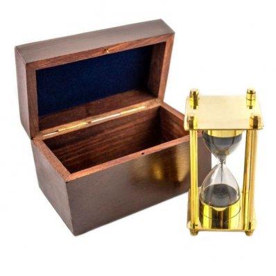 Mosiężna klepsydra w pudełku drewnianym