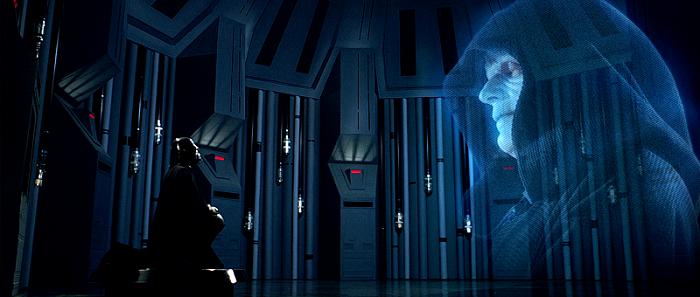 Vader klęczący przed Imperatorem Paplatine.