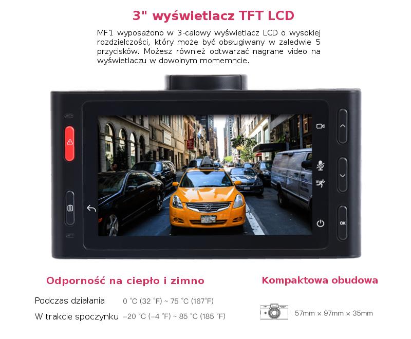 Kamera samochodowa wyposażona jest w duzy wyświetlacz TFT