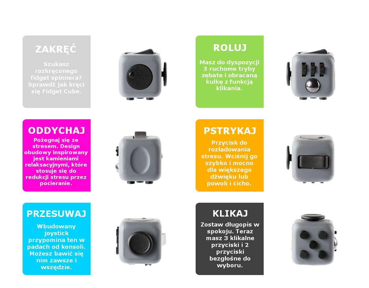 Funkcje Fidget Cube - odstresuj się i Ty!